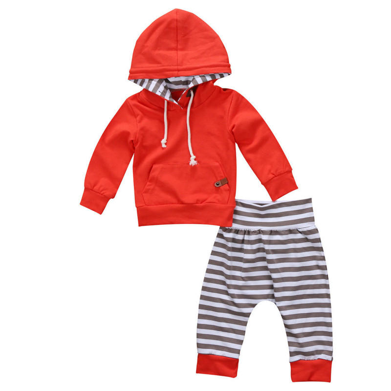 Hot Sale New Tracksuit 2PCS Newborn Baby Kids Boy Girl Solid Full Sleeve Hooded Tops Striped Pants Leggings Outfit Unisex Set