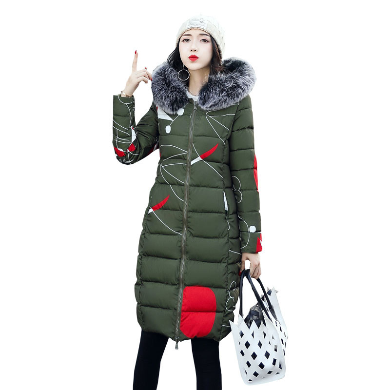 Winter Jacket Women Two Sides Wear Long Parka Overcoat Thick Fur Collar Hooded Maxi Coats Down Cotton Coat Jacket Jaquetas C3526 qazxsw 2017 new winter cotton coat women slim hooded jacket two sides wear long parkas fur collar winter padded abrigos hb339