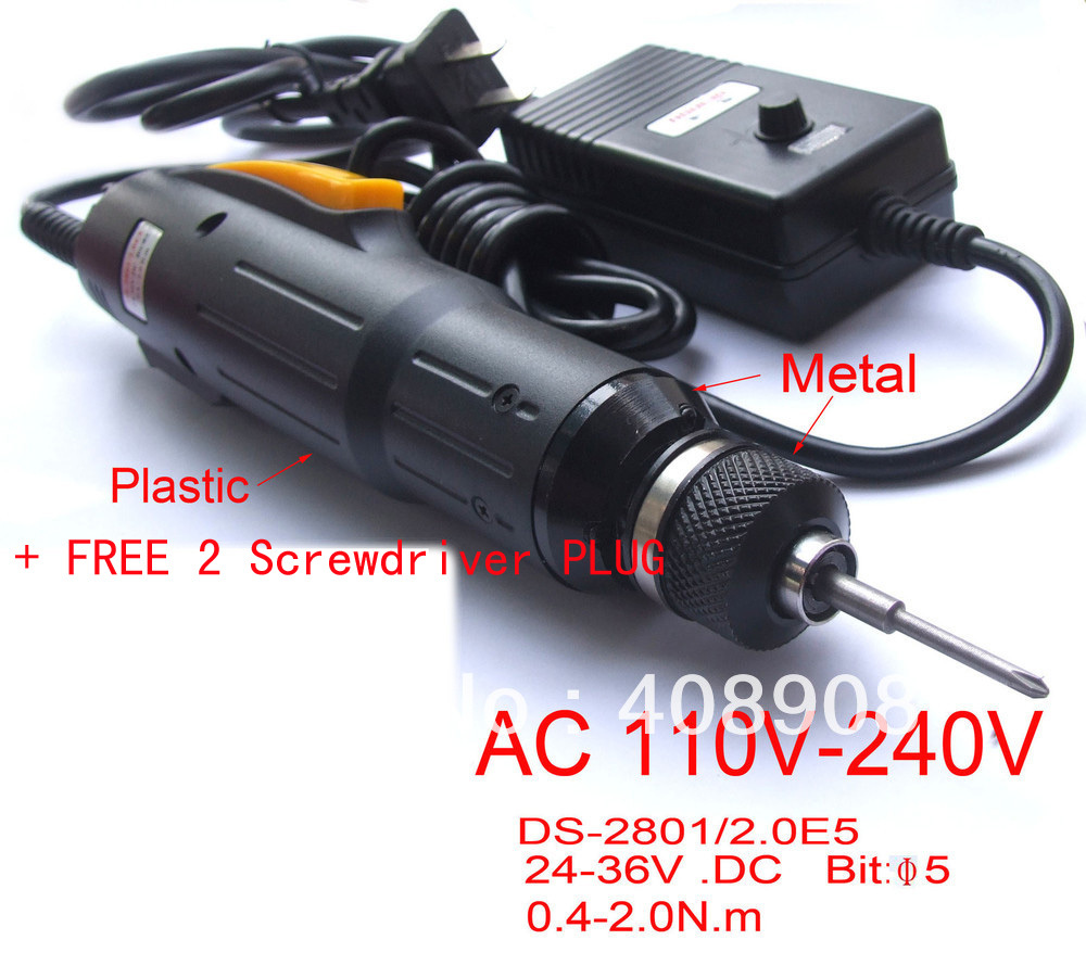 1 Sets AC 110V or 220V Electric Screwdriver Tool + FREE 2 pcs common Screwdriver PLUG free shipping brand proskit upt 32007d frequency modulated electric screwdriver 2 electric screwdriver bit 900 1300rpm tools