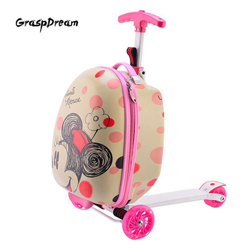 GraspDream Cute Cartoon, Gift For Children Sports Scooter Luggage Backpack Rolling Luggage Business Travel Boarding Suitcase