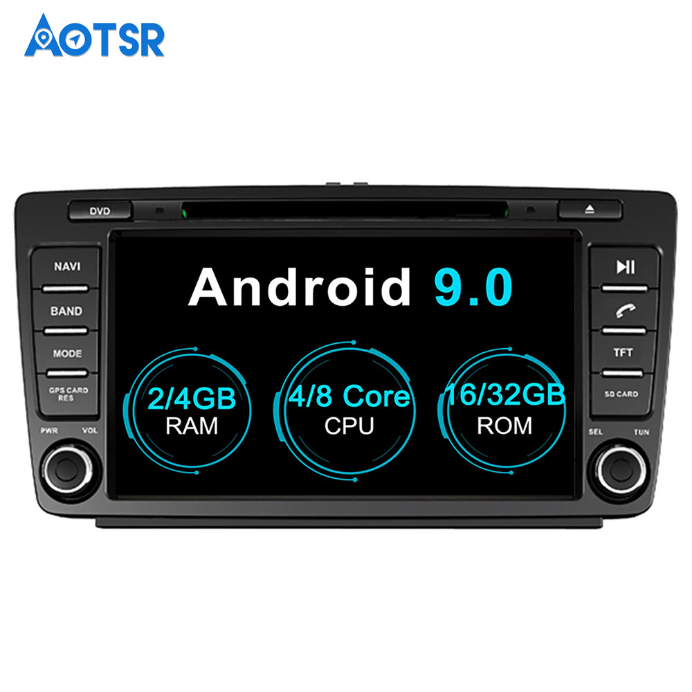 Aotsr Android 9.0 Audio Satnav Car DVD player GPS Navigation Headunit For Skoda Octavia 2008-2015 Auto Radio multimedia  2 Din