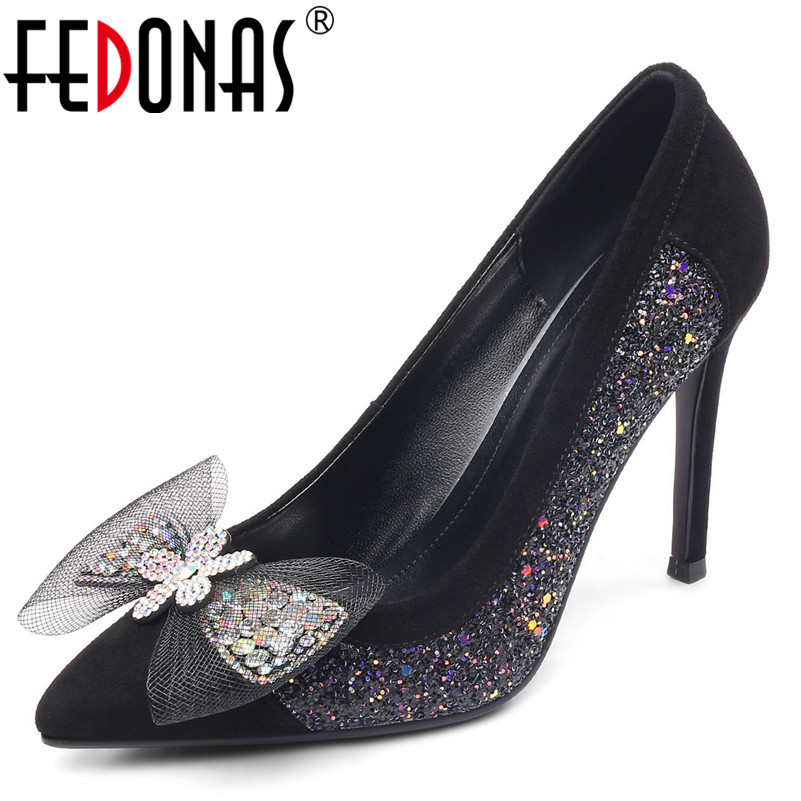 FEDONAS Blingbling Butterfly Knot Women Pumps Fashion Sexy Classic Design High Heels Spring Casual Shoes Night Club Shoes Woman