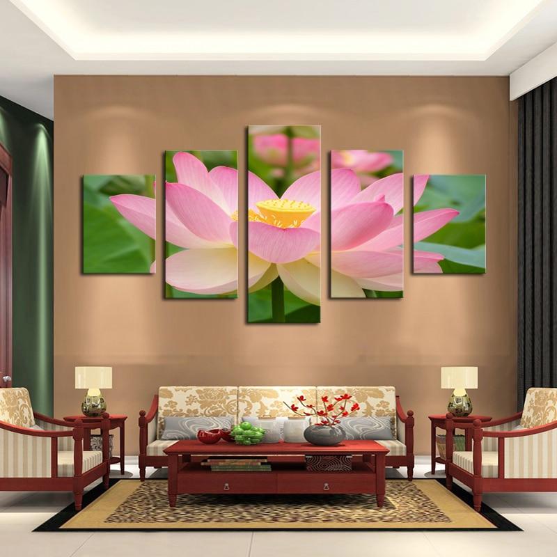 Unframed 5 Panels Pink Lotus Flowers Print Painting Modern Canvas ...