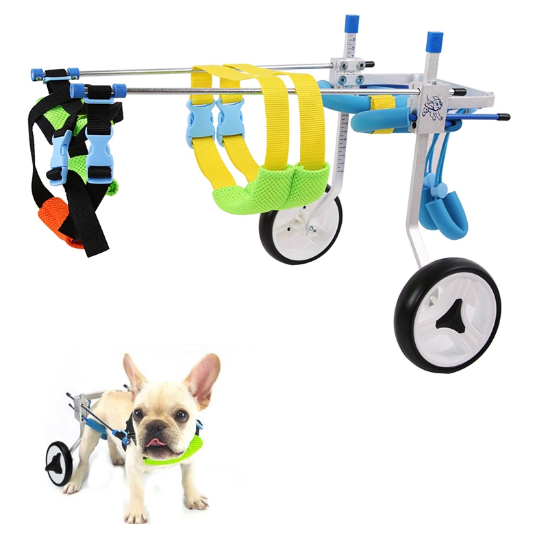 2 Wheel Aluminium Walk Cart Scooter Pet Dog Wheelchair For Handicapped Hind Leg Adjustable Durable XXS XS for 3-15kg Pet