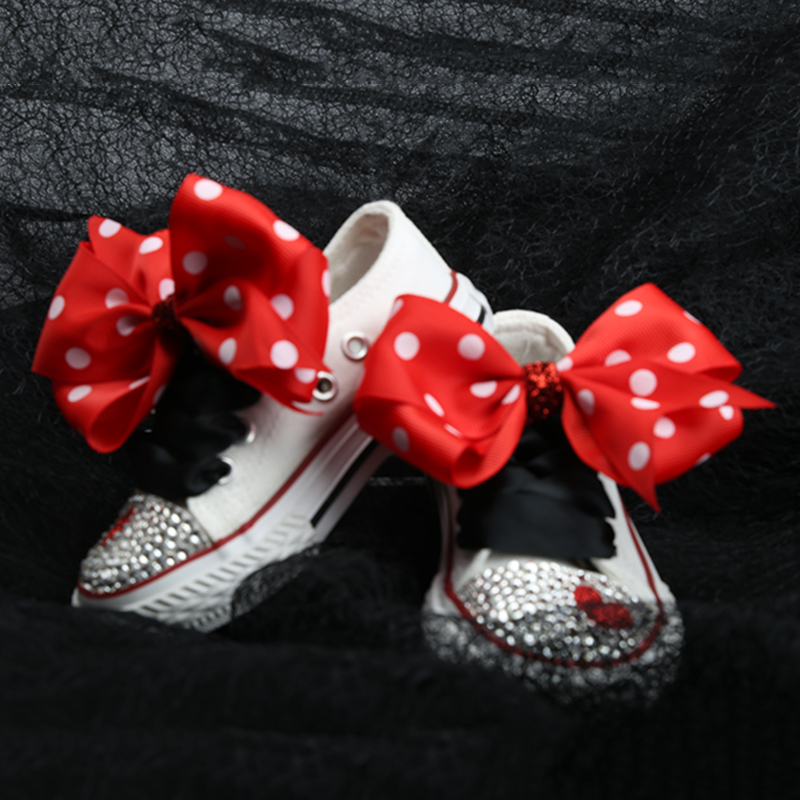 Image 3 - Dollbling ChildrenS Canvas Shoes Lace Bow Custom Hand Toe With Diamonds Low Canvas Casual Flat Shoe ChildrenS Sports ShoesSneakers   -