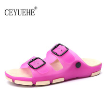 2016 New Fashion Style Buckle Couple Shoes Beach Women Summer Flats Rubber Sandalias Lover Casual Sandals Beach Slippers