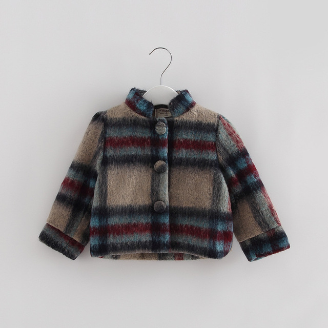 Children clothing new baby girls fashion outerwear princess grid kids winter long England style coat baby thick warm