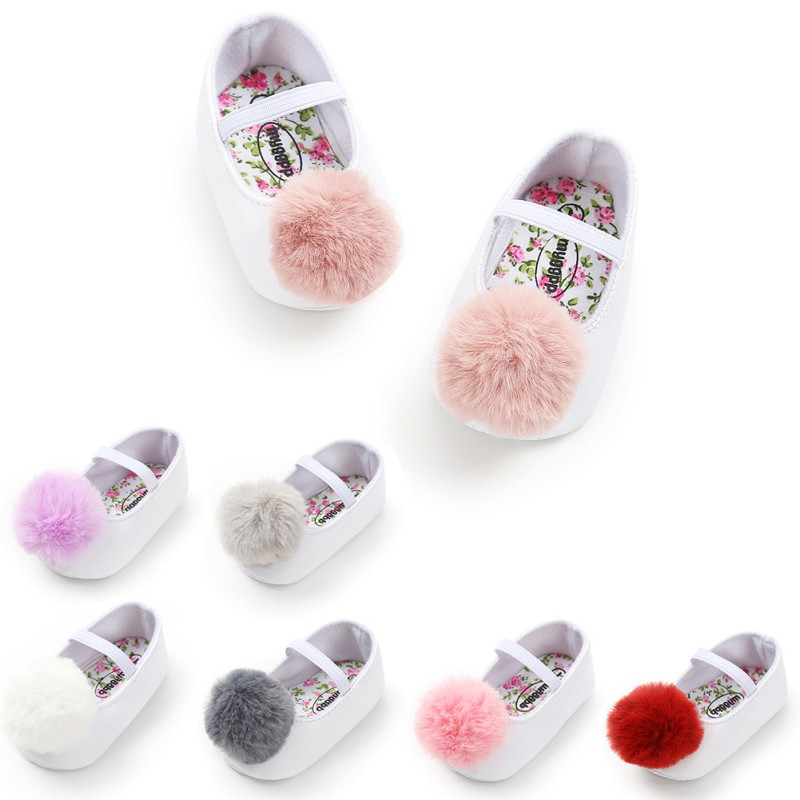 Toddler Baby Girl Soft Plush Princess Shoes  Pom Shoes Infant Prewalker New Born Baby Shoes For Girls New