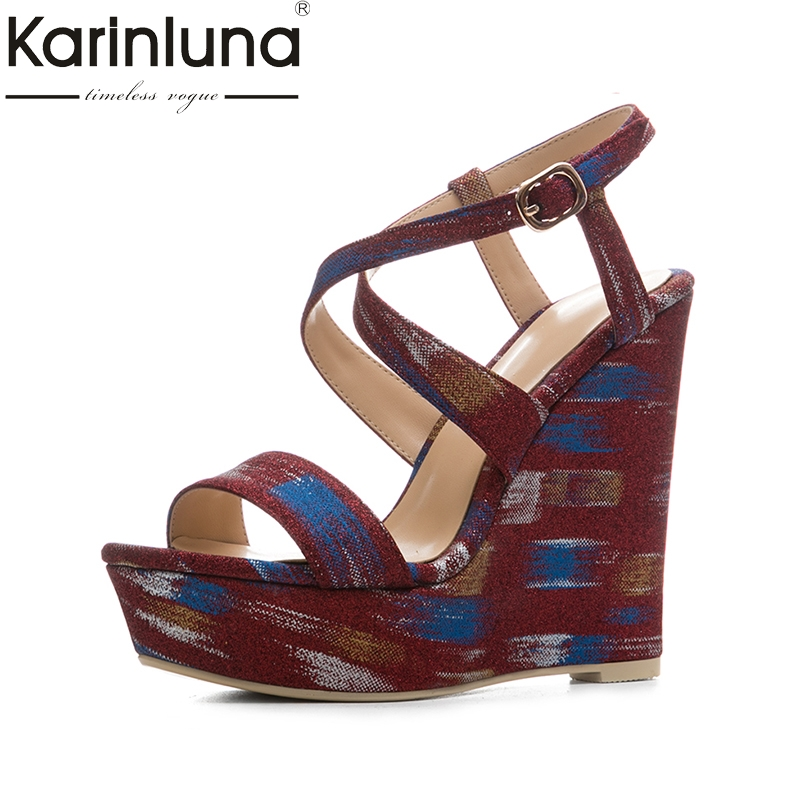 KarinLuna new size 34-41 cross strap sexy platfrom party shoes woman brand new wedges high-heeled wedding summer sandals shoes new arrival black brown leather summer ankle strappy women sandals t strap high thin heels sexy party platfrom shoes woman
