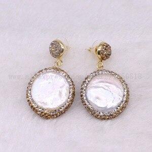 Image 2 - 5 pairs Natural pearl dangle earrings drop earrings golden color crystal druzy drop earrings  Gems jewelry 3318