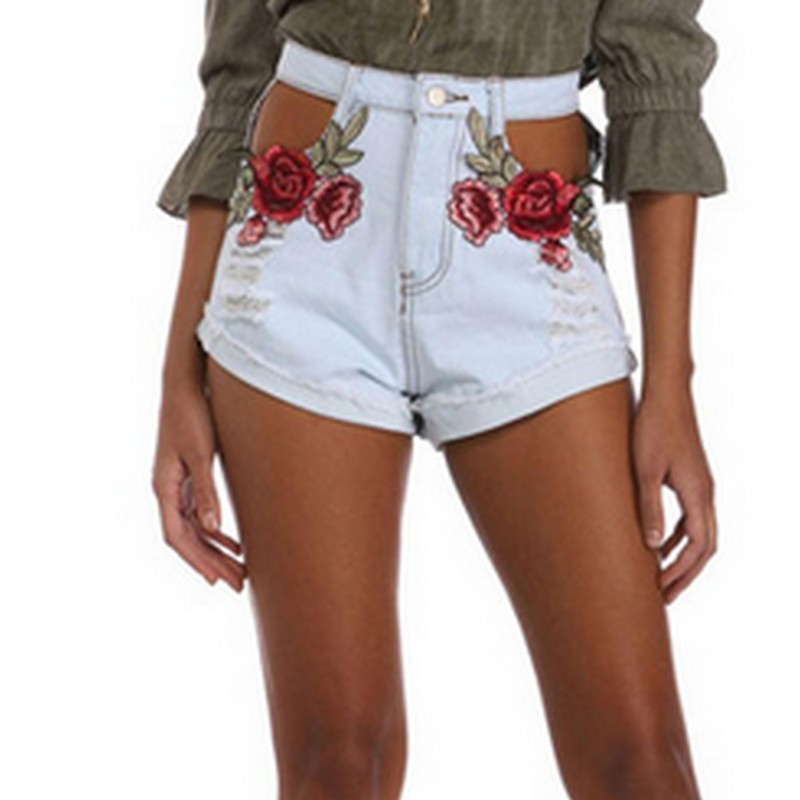 Rose Embroidery Sexy Jeans Shorts  1