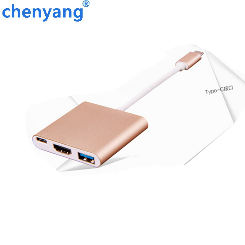 Free Shipping tracking number Type C USB 3.1 to HDMI Converter Adapter 3 in 1 HDMI HUB Charge for MacBook 12