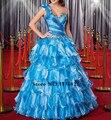 Dk destacável de noiva 2017 de moda de nova céu azul quinceanera vestidos vestido de novia um ombro sweet 16 deusas