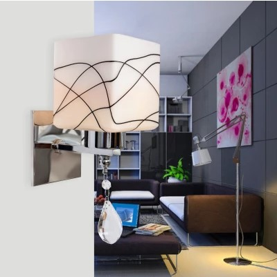 Simple Modern LED Wall Lamp Lights For Home With Glass Lampshade Crystal Wall Sconce Arandelas Lamparas De Parede simple artistic led crystal wall lamp light modern with 2 lights wall sconce arandelas wandlamp