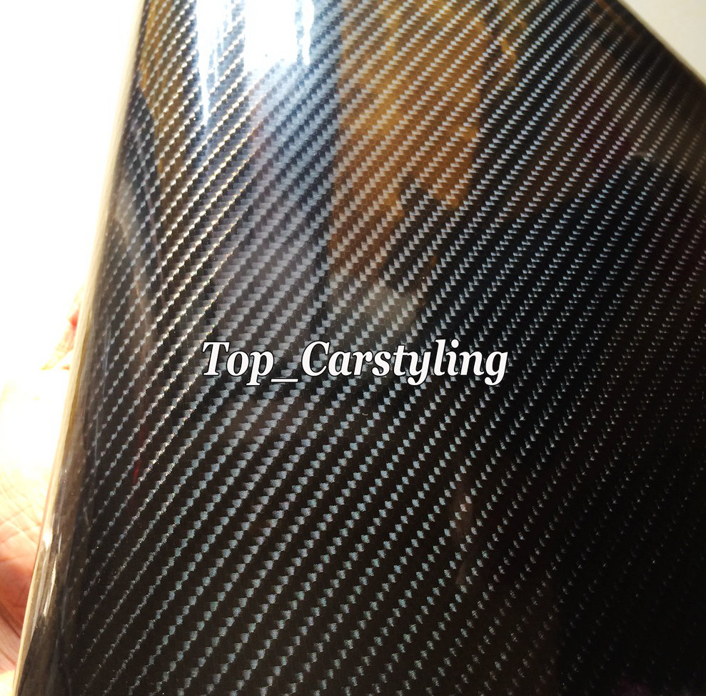 Super Brillant 6D En Fiber De Carbone Noir d'enveloppe de Vinyle pour la voiture wrap Couvrant taille 1.52x20 m/rouleau avec bulle d'air Libre PROTWRAPS