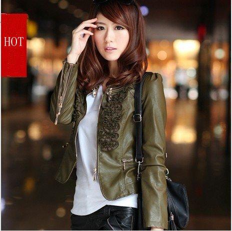 Free shipping Women Autumn 2013 new PU leather short coat jacket ...