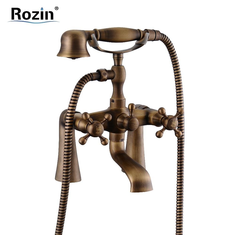 Brass Antique Deck Mount Bathtub Faucet Dual Cross Handles Bath Tub Mixer Taps with Brass Handshower