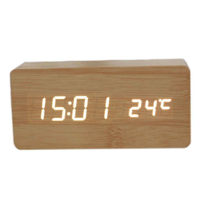 Voice Control Calendar ThermometerRectangle Wood Wooden LED Digital Alarm Clock USB/AAA Bamboo Wood White LED