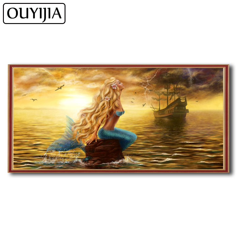 Detail Feedback Questions about OUYIJIA Oil Art Mermaid 5D DIY Diamond  Painting Full Square Siren Rhinestone Mosaic Home Decoration Embroidery  Cross Stitch ... 028d87a07c73