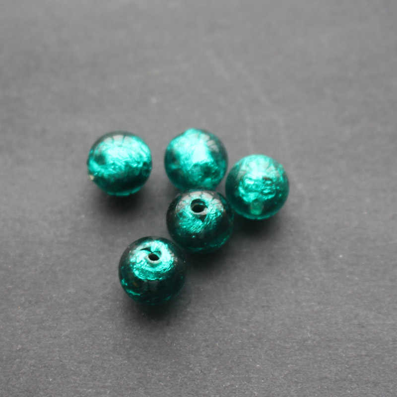 10 Cuentas De Murano De Lámina De Plata Corazón de Cristal 12mm-Verde oliva pálido