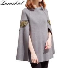 Arachiel, пуловер с бусинами, с вышивкой, на осень, Повседневный, раздельный, уличная одежда, пончо, накидка, накидка, вязанный шерстяной свитер, пальто