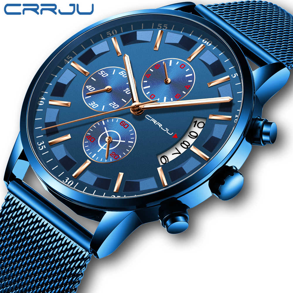 Relogio Masculino 2019 New Crrju Sport Chronograph Mens Watches Top Brand Full Steel Waterproof Date Quartz Watch Man Clock
