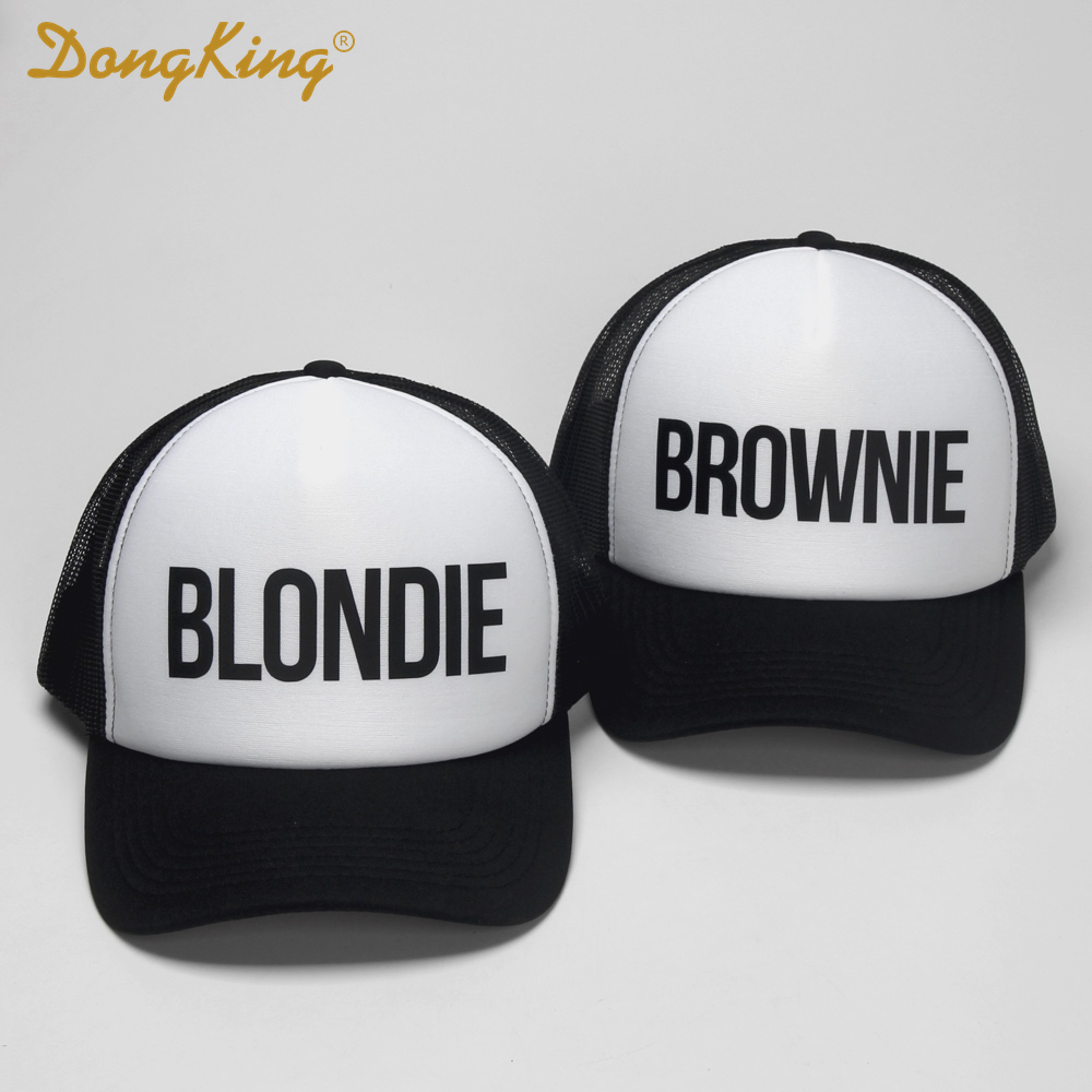 Prix pour DongKing BLONDIE BROWNIE Impression Casquettes De Camionneur Polyester Femmes Cadeau Pour Son Haute Qualité Flat Bill Hip-Hop Snapback Chapeau Gorras