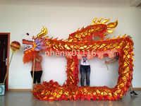 10 m Länge Größe 4 Gold-überzogene auf körper goldenen Chinesischen DRAGON DANCE ORIGINAL Dragon maskottchen kostüm Folk Festival kostüm