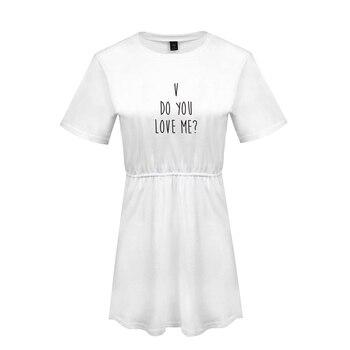 c609e1e2db4dd BTS Hip Hop camisetas DO YOU LOVE ME Harajuku vestido de mujer ropa 2018  Tops Kawaii Kpop Tops impresión Camiseta talla grande A10260-A10266