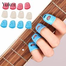 Yuker 4Pcs Fingertip Protector Fingerstall Silicone Guitar String Finger Guard Hand Against the Press Sore Finger Ballad Guitar