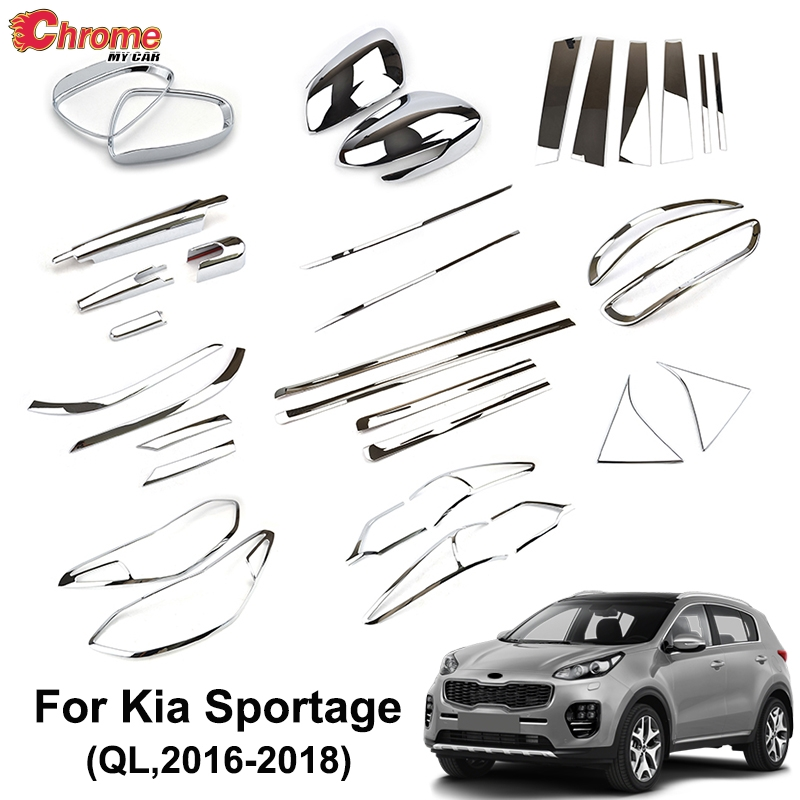 For Kia Sportage QL 2016 2017 2018 2019 Chrome Front Rear Fog Light Side Door Mirror Cover Trim Body Molding Strip Car Styling