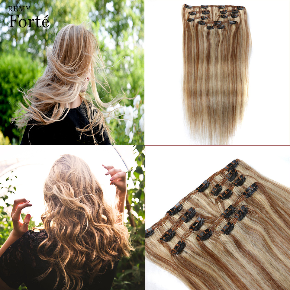 Human-Hair-Extensions Clip-In Remy Straight 24inch Ombre Forte Color Clip-P6/613-Blonde