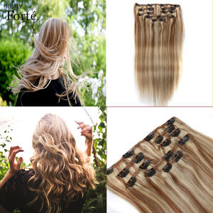 Remy Forte 24 Inch Clip In Human Hair Extensions Straight Hair Extension Clip P6/613 Blonde Ombre Color 7Pcs Hair Clip Iins