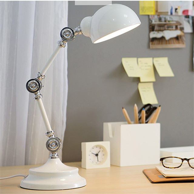 L19 Nordic Style Led Read Lights Metal Robot Table Lamp Swing Arm Desk Reading High Quality Vintage Bedside