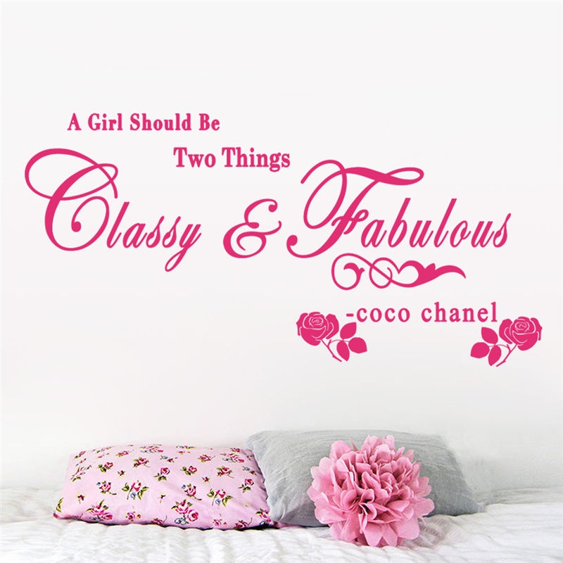 a girl should be two things classy and fabulous quotes wall art stickers for kids room home decor removable diy decals vinyl