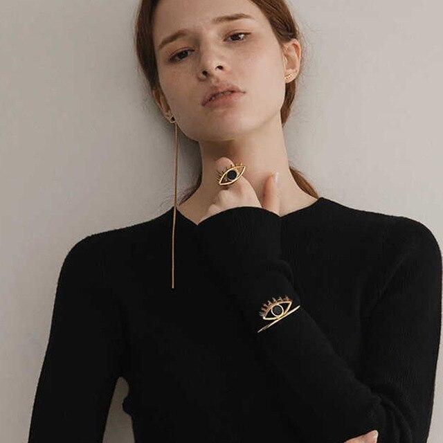 2018 New Charming Stylish Gold/Silver Filled Big Evil Eye Cuff Bangles Statement Bracelet Femme bijoux