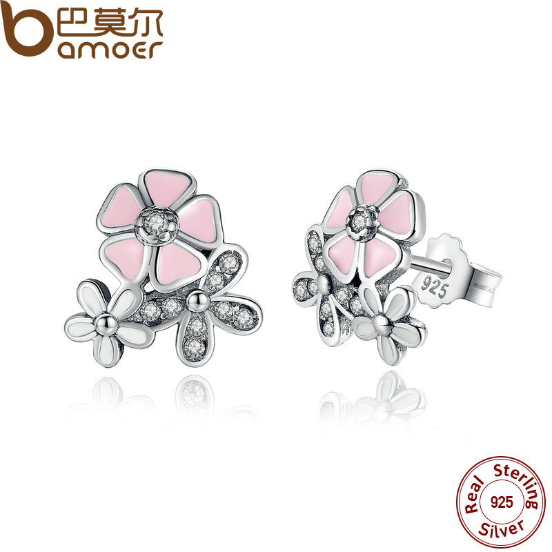 BAMOER HOT SELL 925 Sterling Silver Poetic Daisy Cherry Blossom Drop Earrings Pink Flower Women Wedding PAS461