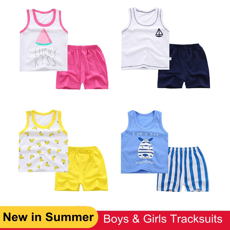 2018 Baby Boys Clothes Suits Summer Children's Clothing Set Cotton Kids Girls Outfits Casual Sport Toddler Boys Tracksuits 2PCS