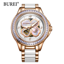BUREI Watch Women Special Flower Pattern Lady Hours Waterproof Ceramic Band Sapphire Automatic Mechanical Wristwatches Hot Sale