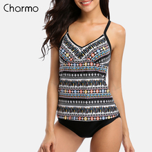 Charmo Women Tankini Set Two Piece Swimwear Vintage Floral Printed Swimwear Back Cross Swimsuit Beachwear Bathing Suit Tankini