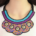 YAAYOO 2017 Newest Women Bohemian Ethnic Colors Beads Large Bib Rope Chain Cotton Power Necklaces WY007