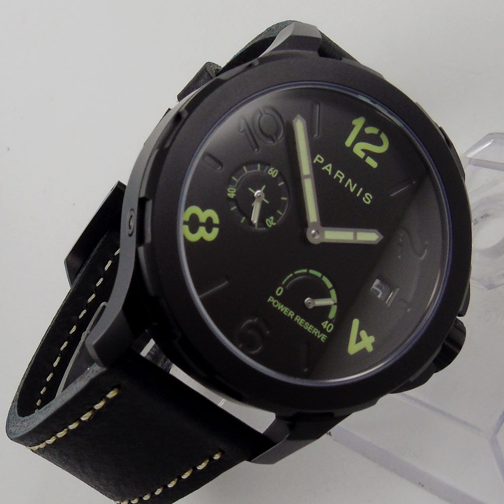 44mm Parins black dial black PVD case green number Luminous hands power reserve automatic Movement Mens watch44mm Parins black dial black PVD case green number Luminous hands power reserve automatic Movement Mens watch