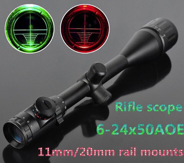 Softair 6-24x50 AOEG Red & Green Illuminated Crosshair Gun Rifle Scope Scopes For Hunting Airsoft Air Guns