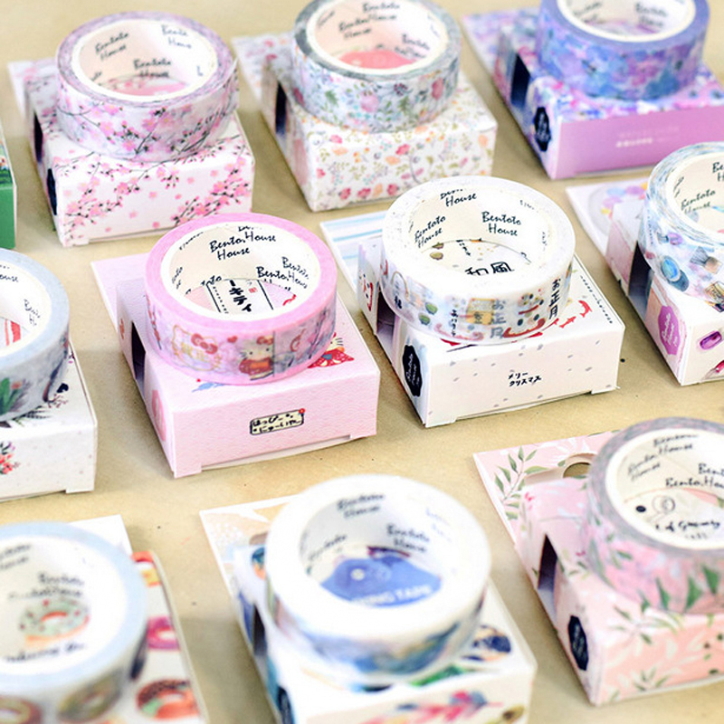 15mm * 7m Cute Kawaii Flowers Cartoon Masking Washi Tape Decorative Adhesive Tape Decor Decora Diy Scrapbooking Sticker Label aagu 1pc 8mm 7m label stationery red black dot stripe washi tape decorative masking tape lovely high viscosity paper sticker