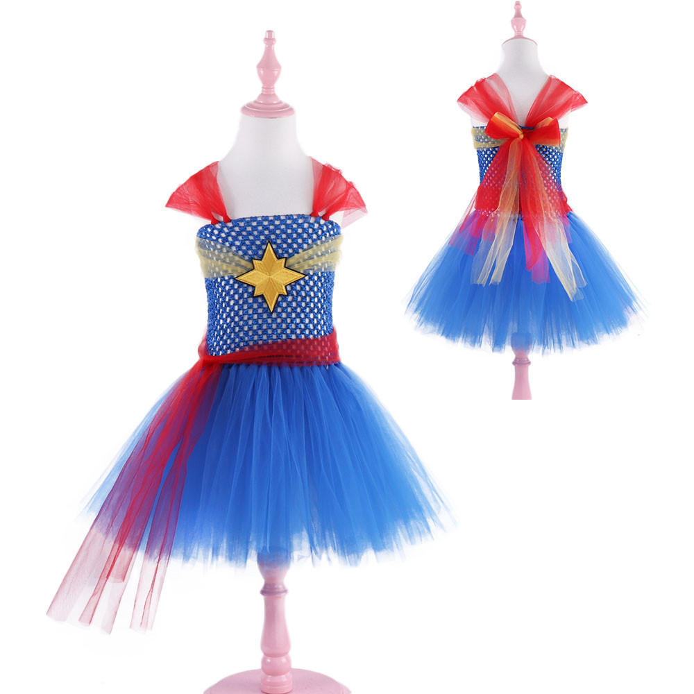 Girl Captain marvel Halloween Costume Fancy Dress Super Children Party Cosplay Costumes Superhero Costumes For Girls Kids