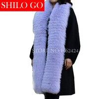 2018 г. модные новые зимние женские высококачественные Роскошные темперамент лаванды накачки раздел меха лисы кожаные удлиненные шаль шарф