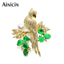 hot deal buy green stone rhinestone crystal setting parrot birds brooches natural freshwater pearls pins for women party jewelry