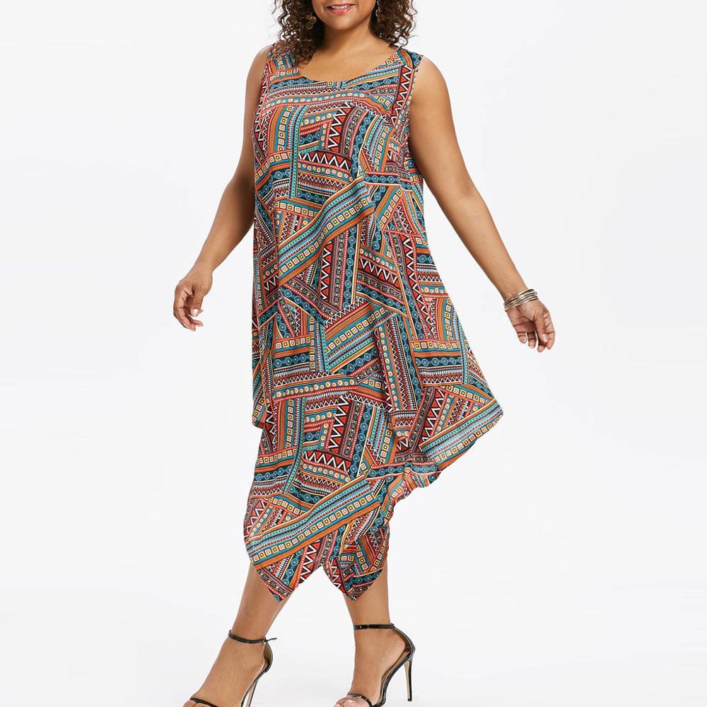 US $3.6 40% OFF|Fashion Women Plus Size O Neck Colorful Print Sleeveless  Asymmetrical sunflower dress plus size dresses summer dress AD-in Dresses  ...