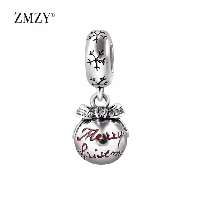 7e5be5d5a ZMZY Authentic 925 Sterling Silver Charms Merry Christmas Bauble  Translucent Red Enamel & Clear CZ Fits Pandora Charm Bracelet. Anniversary  ...