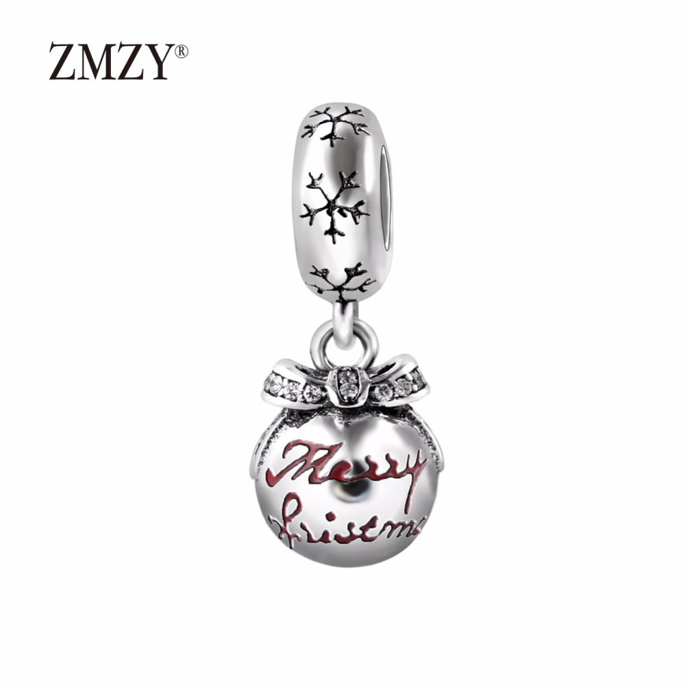 ZMZY Authentic 925 Sterling Silver Charms Merry Christmas Bauble Translucent Red Enamel & Clear CZ Fits Pandora Charm Bracelet